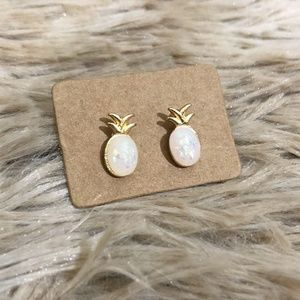 NEW Gold Tone & Sparkly White Pineapple Earrings